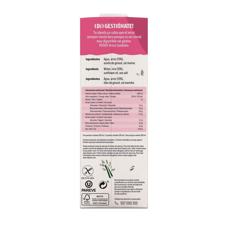 YOSOY BEBIDA VEGETAL DE ARROZ 1L - Caja de 6x1000ml - Total 6000 ml: Amazon.es: Alimentación y bebidas