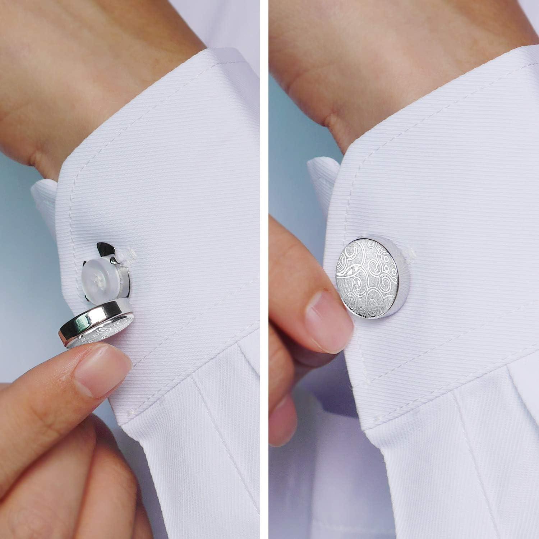 HONEY BEAR Cubre Botones Gemelos tallados con patrón Retro de para Camisas de Hombres, Acero Inoxidable para Regalo de Bodas, Plata con Negro (Plata): Amazon.es: Joyería