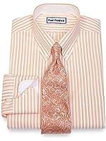 Paul Fredrick Men's Non-Iron Cotton Stripe Dress Shirt