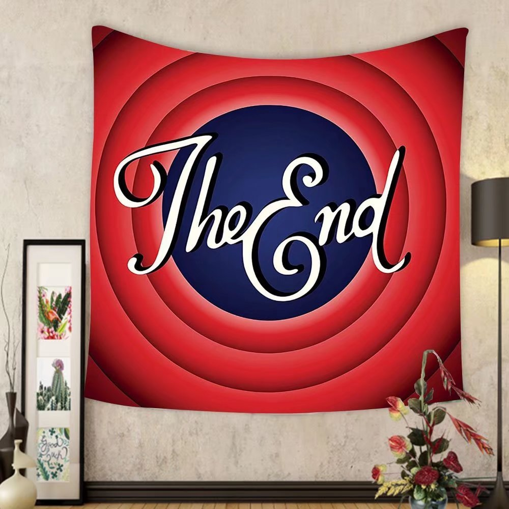 Gzhihine Custom tapestry Ambesonne 1950s Decor Collection Movie Ending Screen Academy Dated Broadcast Entertainment Show Oscar Cinema Frame Image Bedroom Living Room Dorm Tapestry Red Navy White