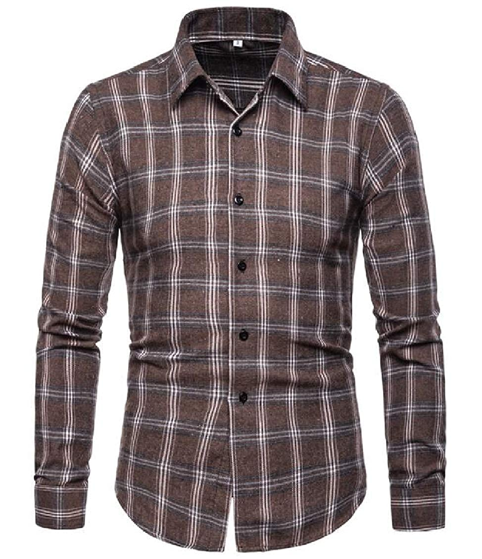 WNSY Men Checkered Leisure Non-Iron Long Sleeve Button up Dress Shirts