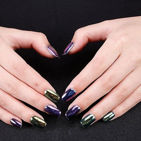 TRAVELMALL uñas polvo espejo 12 colores 12 caja brillante espejo cromado reflectante uñas polvo de purpurina para Magic espejo uñas decoración establece con ...