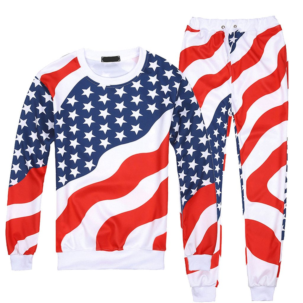 Dolpind Emoji American Flag Casual Sweater Pants Sweatshirt Sweatsuits