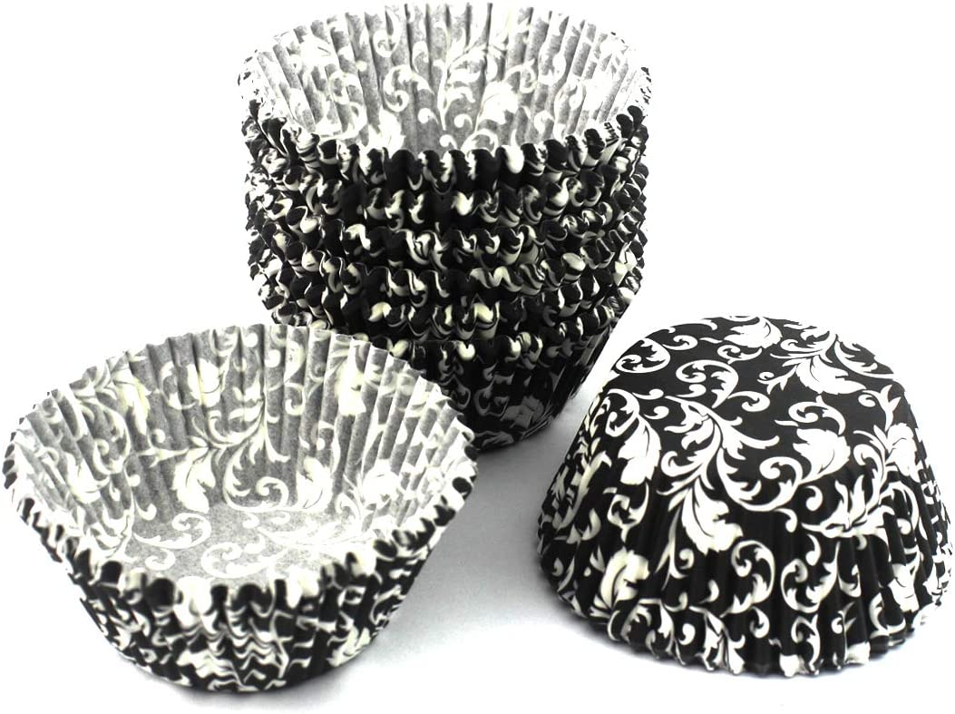 Black White Eoonfirst Standard Size Classical Pattern Baking Cups 200 Pcs