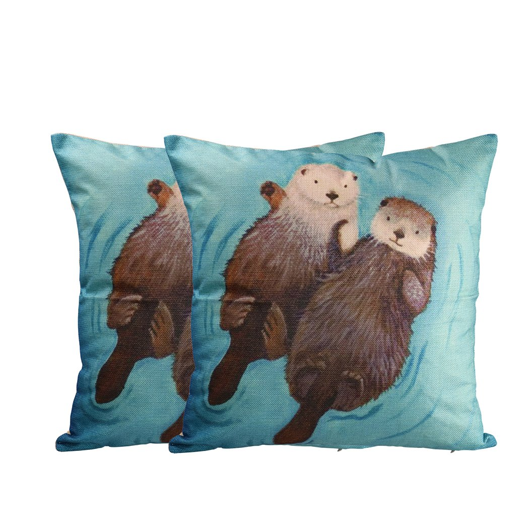 New Arrival Cute Animal Otter Cotton Linen Throw Pillow Case Home Office Decorative Pillow Case (Pack of 2)