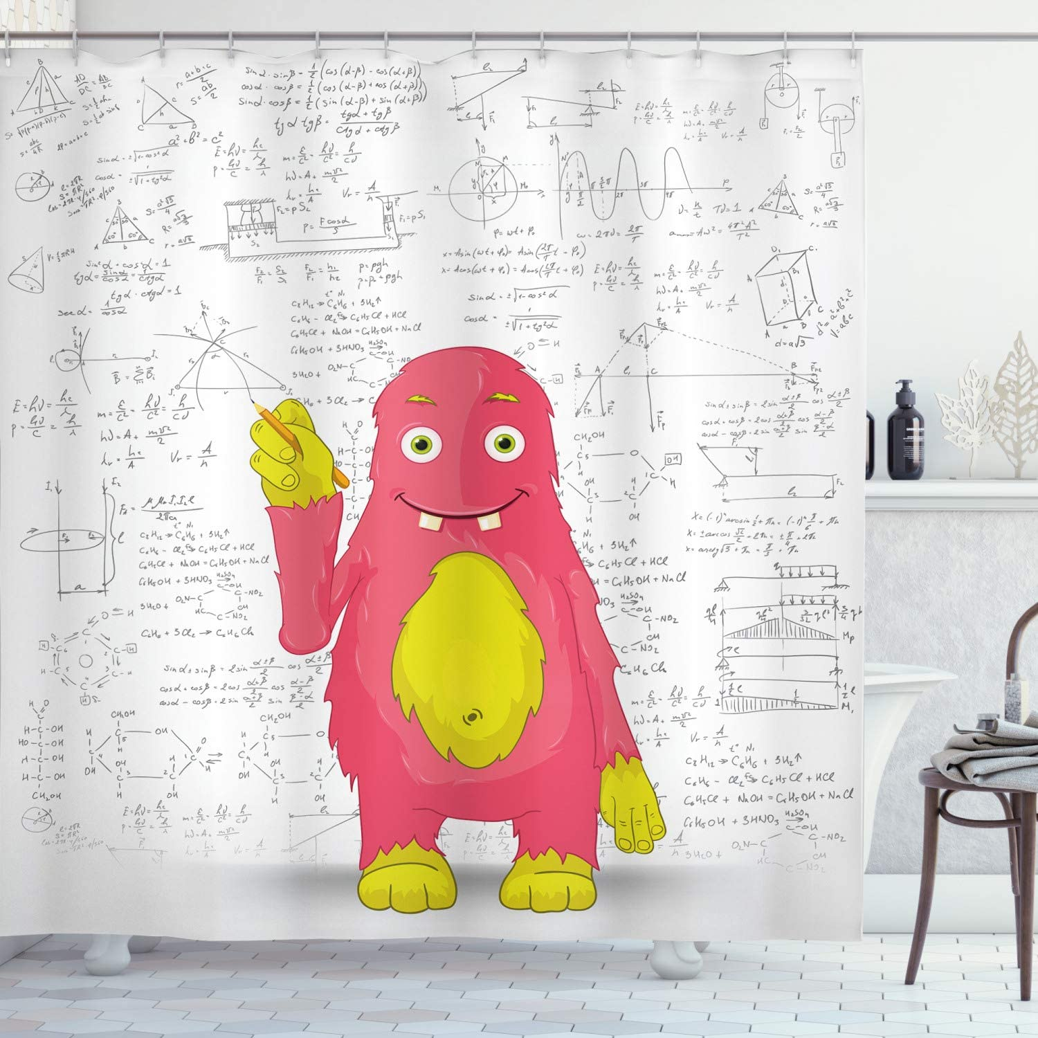 Ambesonne School Shower Curtain, Funny Smart Monster Doing Math on Wall Science Nerds Comic Illustration, Cloth Fabric Bathroom Decor Set with Hooks, 70