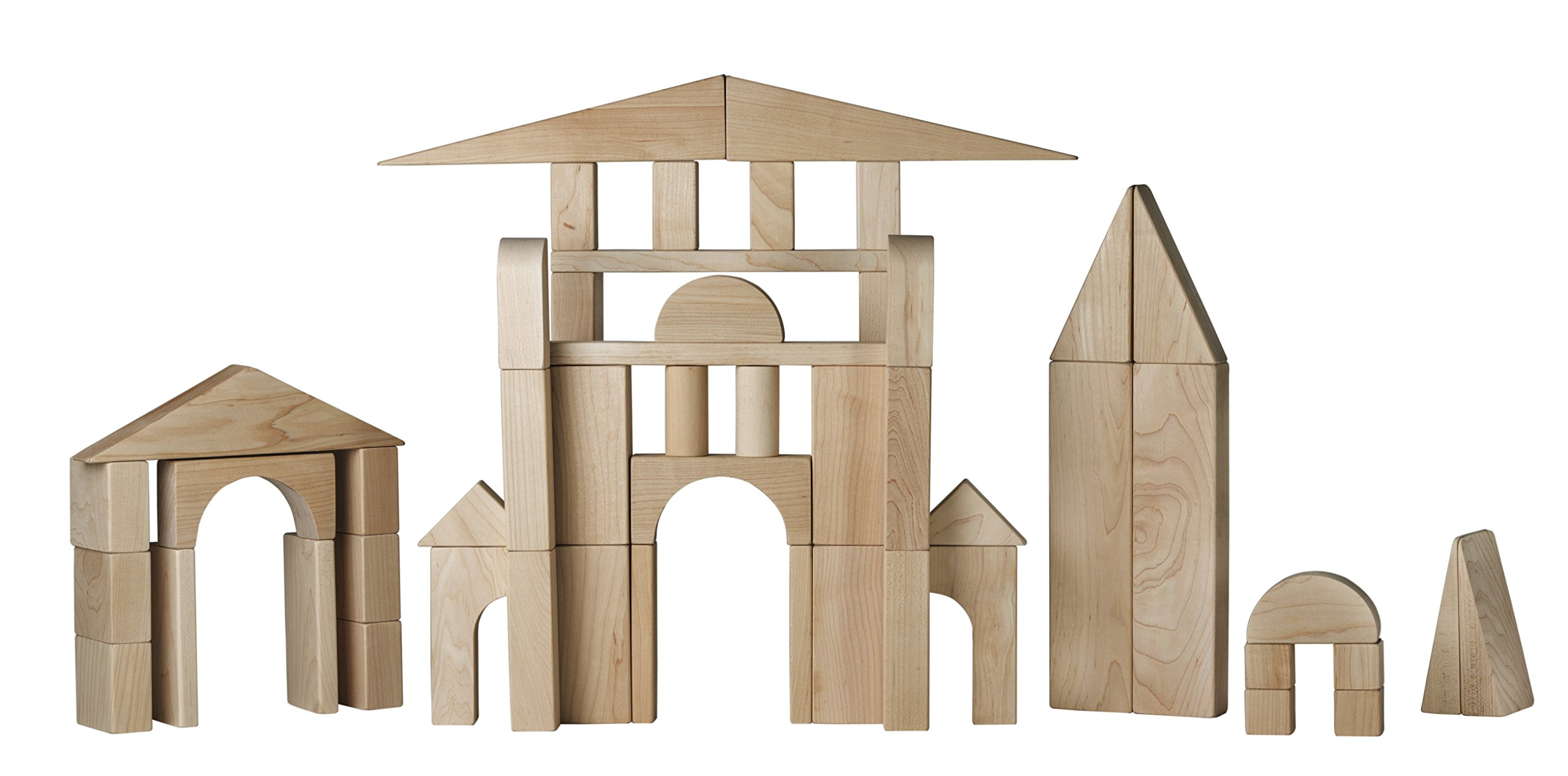 Wooden Building Blocks Set - Standard Unit Blocks - Made From Top Quality Hard Maple Wood - 55 Wooden Blocks 19 Shapes and Sizes - Made In USA by Maple Wood Toys