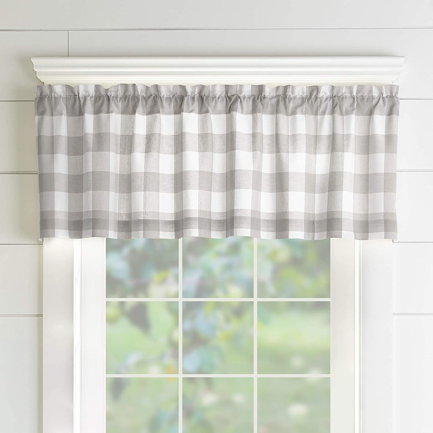 Elrene Home Fashions Farmhouse Living Buffalo Check Window Kitchen Valance,  122