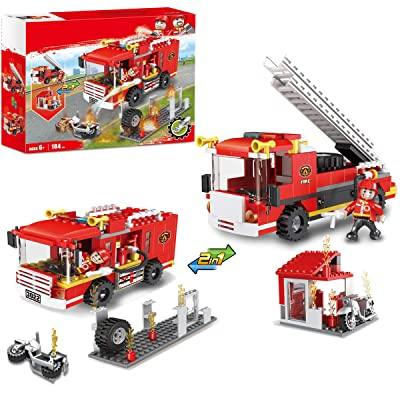 City Fire Station Fire Truck Building Blocks Fire Engine Vehicles Set Fire Fighter Building Kit Construction Toys Xmas Gifts Present Building Bricks for Boys Girls 184pcs: Toys & Games
