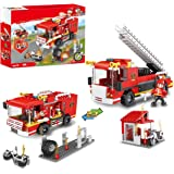 2 in 1 City Fire Station Fire Truck Building Blocks Fire Engine Vehicles Set Fire Fighter Building Kit Construction Toys Xmas Gifts Present Building Bricks for Boys Girls 184pcs