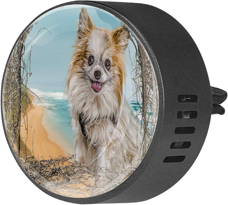 CHINFY Alicia Dog Chiuhuahua Difusor de aromaterapia para coche, difusor de ventilación de coche, 40 mm, acero inoxidable, difusor de aire