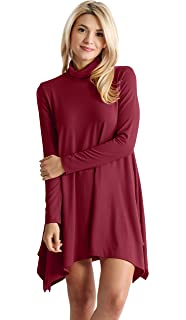2edb32013ff High Low Long Sleeve Turtleneck Swing Dresses for Women Plus Size and Reg.  - Made