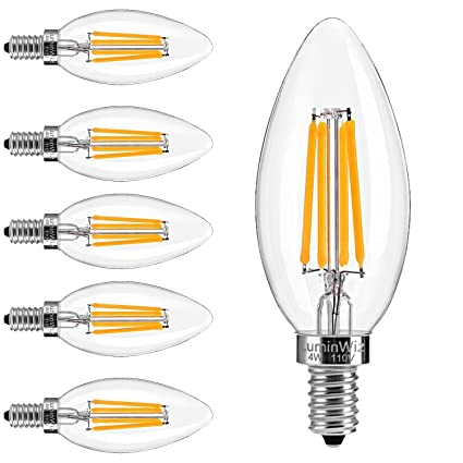 Candelabra LED Bulbs, LuminWiz 4W 2700K E12 Base LED Filament ...