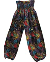 Womens Indian Bohemian Yoga Harem Purple Leaf Print Gypsy Pants