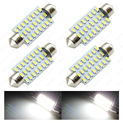 "SAWE - 42mm 41mm (1.72"") 24-SMD 3014 12V Super Bright Festoon Dome Map Door Trunk Light LED Bulbs 211-2 212-2 569 578 (4 pieces) - White: Automotive"
