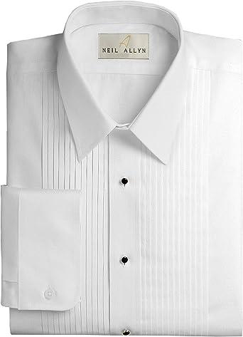 Neil Allyn Mens Lay-Down Collar 1//4 Pleats Tuxedo Shirt