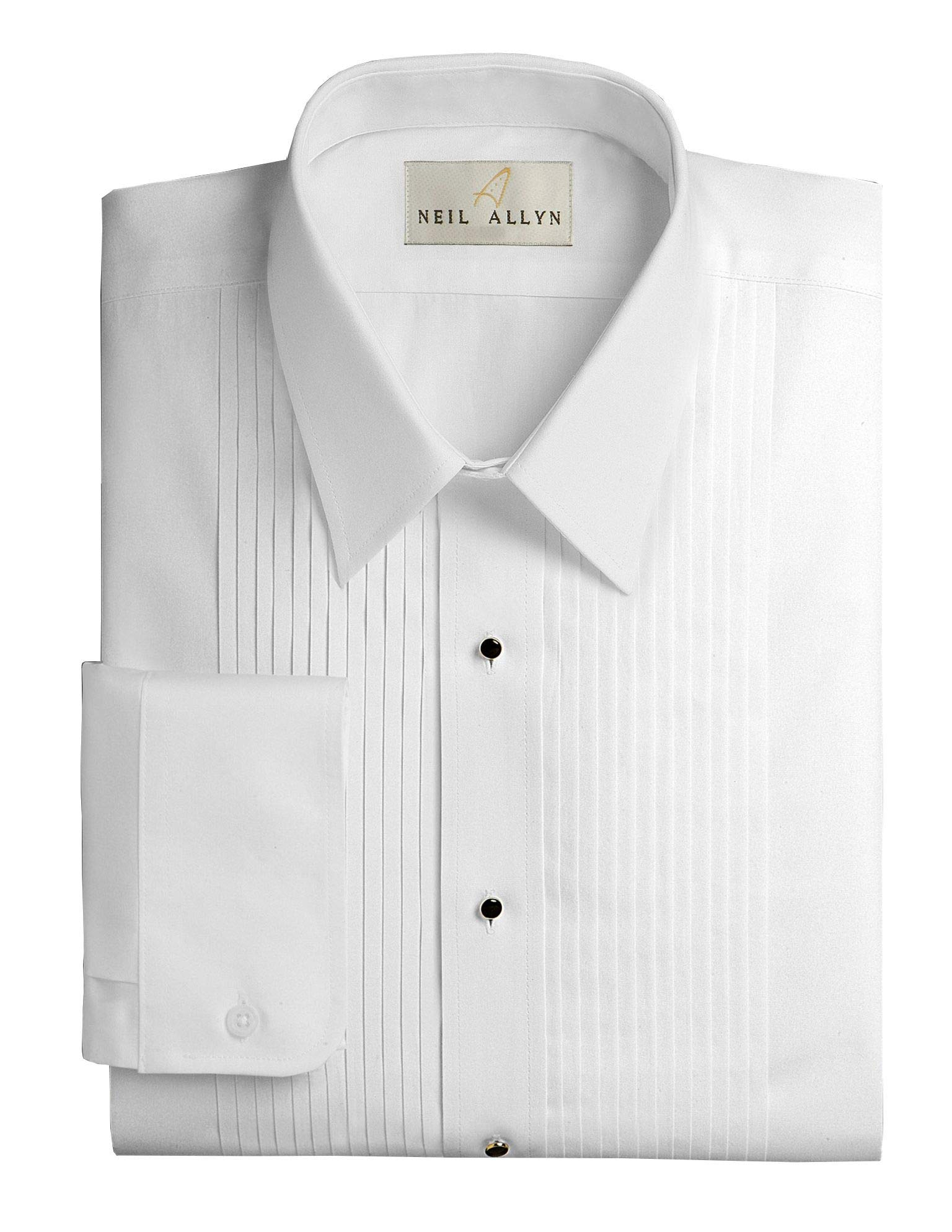 Neil Allyn Men's Slim FIT Lay-Down Collar 1/4'' Pleats Tuxedo Shirt-L-32-33 White by Neil Allyn