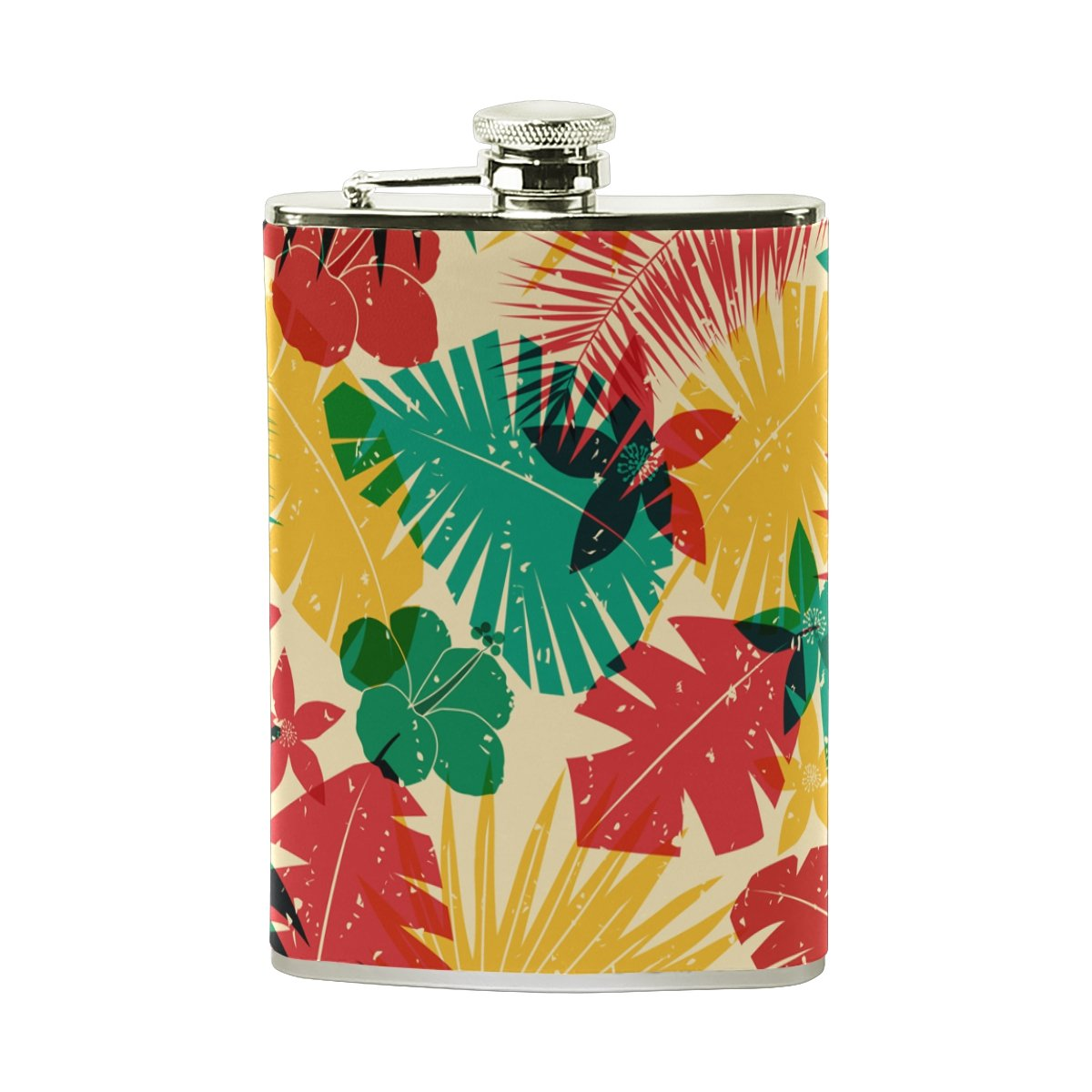 Tropical Floral Print Portable Leather Stainless Steel Hip Flask Alcohol Whiskey Liquor Wine Pot Flagon Pocket Bottle - 8 oz