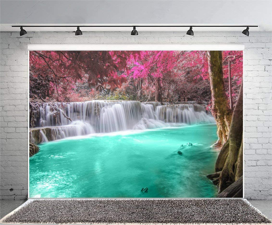 9X6FT Jungle Forest Backdrop Waterfall Green Pool Old Trees Nature Landscape Travel Theme Vinyl Photography Background Kids Children Adults Photo Studio Props