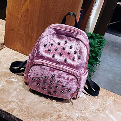 8f97d88486d1 Amazon.com  SY Creative Fashion Multi-Function Pu Popular Soft Face Girls  Rivet Bag Corduroy Pure Color Backpack for Women