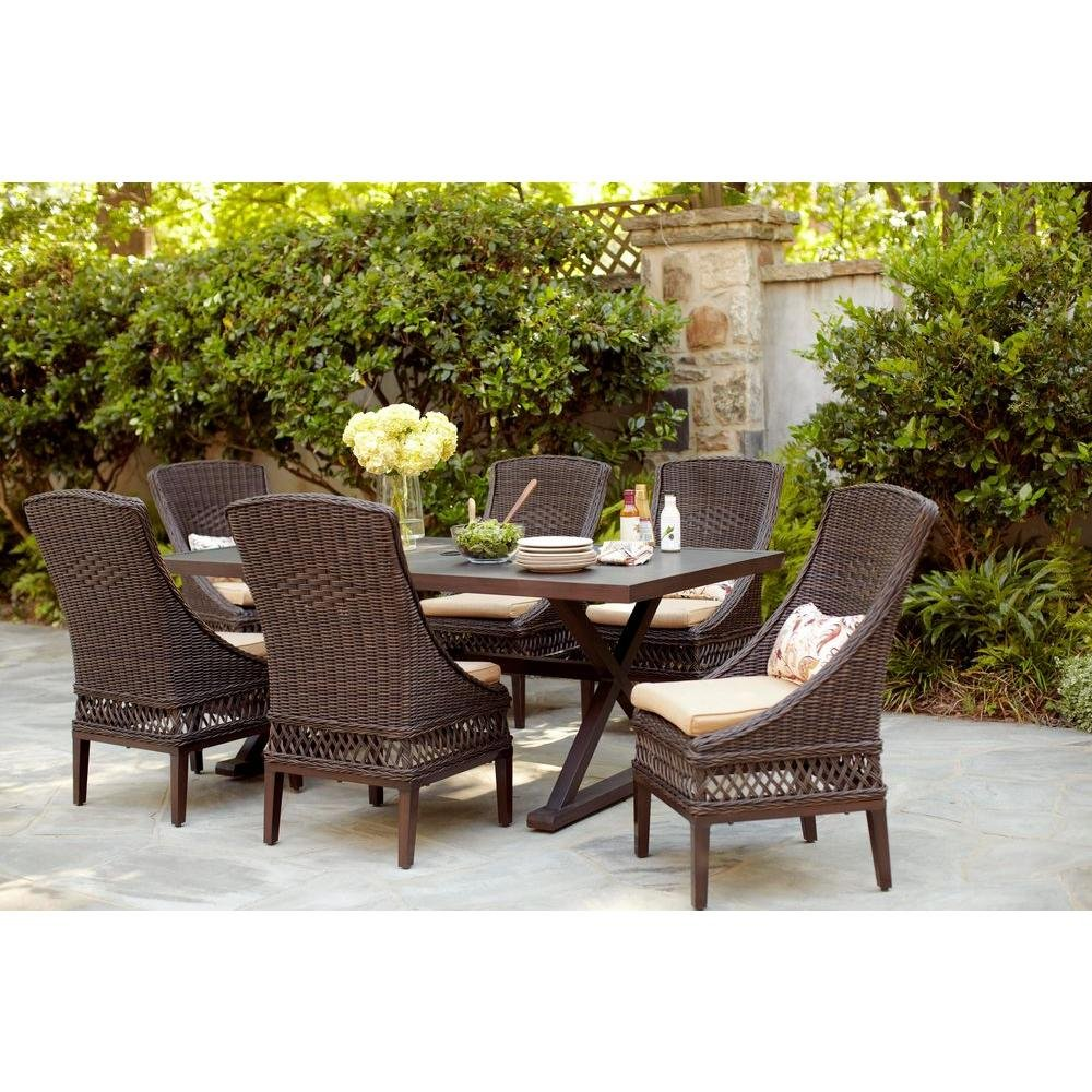 Amazon.com : Woodbury 7 Piece Patio Dining Set With Textured Sand Cushions  : Garden U0026 Outdoor