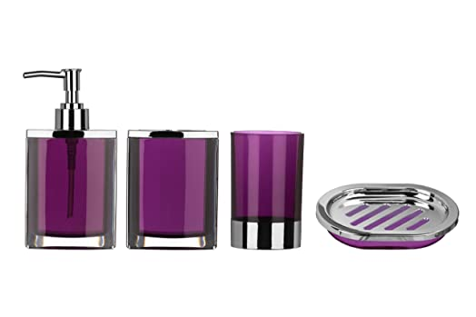 Premier Housewares Bathroom Set, 4 Pieces   Purple