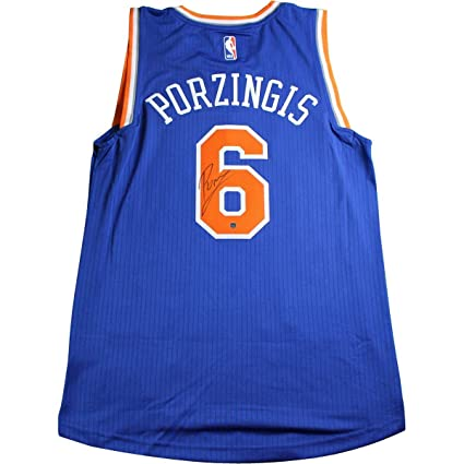 2c381dff2f6d2d Image Unavailable. Image not available for. Color  Kristaps Porzingis  Signed Adidas Swingman New York Knicks Blue Jersey
