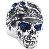KONOV Bijoux Bague Homme - Gothique Tribal Tête de mort - Acier Inoxydable - Anneaux - Fantaisie - pour Homme - Couleur Bleu Argent
