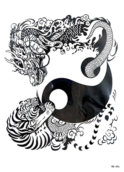 Amazoncom Tiger Dragon Yin Yang Large 825 Half Sleeve Arm Tattoo