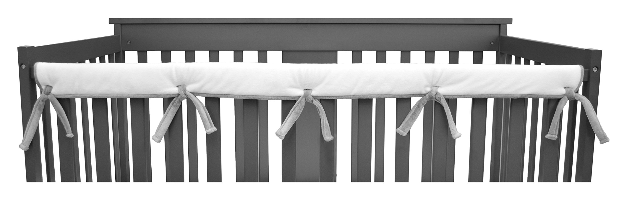 American Baby Company Heavenly Soft Narrow Reversible Crib Cover for Long Rail, Gray/White, for Crib Rails Measuring up to 4'' folded