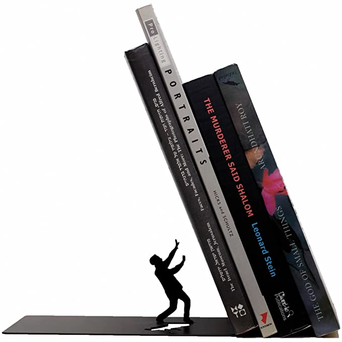 Falling Books Black Metal Bookend