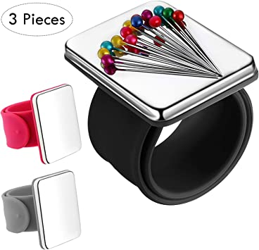 Silicone Wrist Strap Bracelet 3 Pack Magnetic Wrist Sewing Pincushion Pin Cushion Holder for Hair Clips Sewing