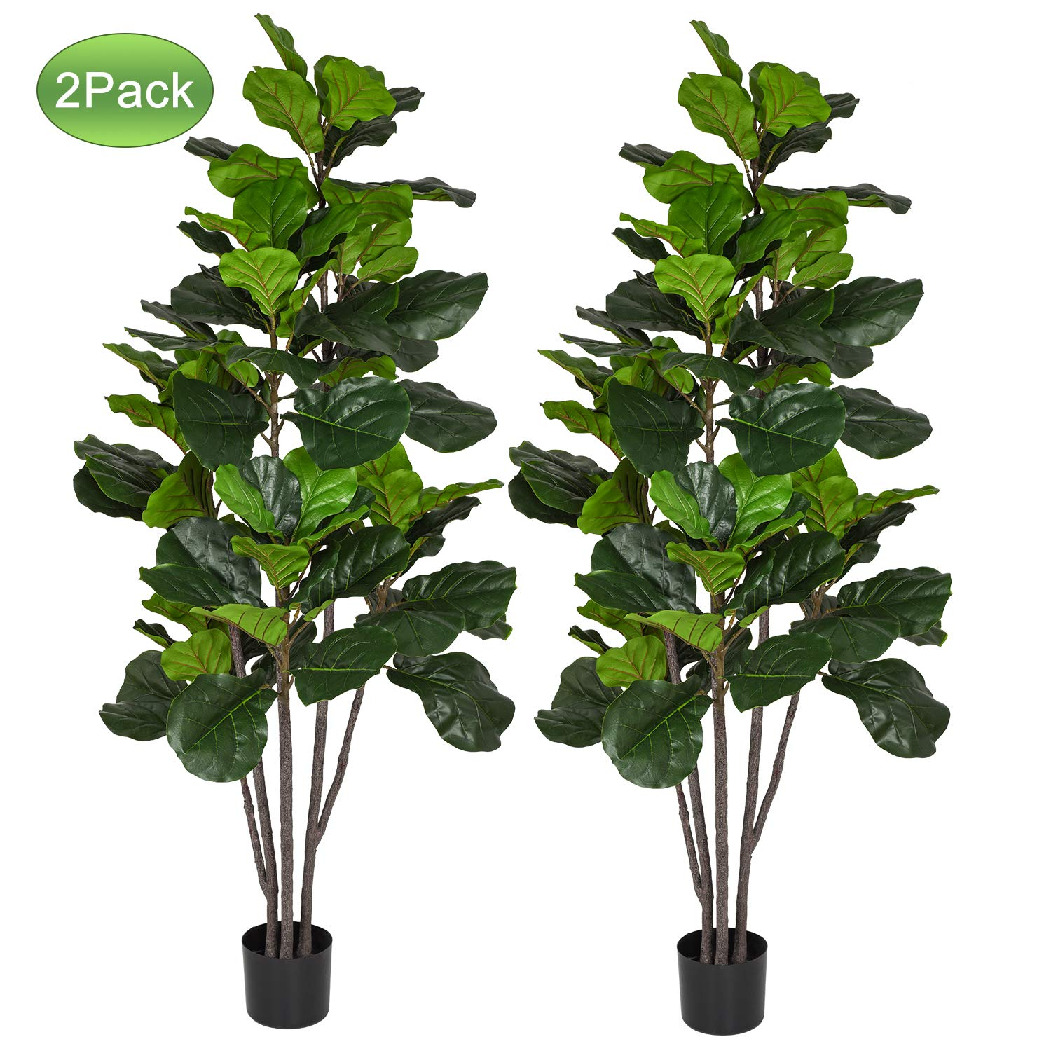 Woooow 6 Feet Artificial Fiddle Leaf Fig Tree in Planter,Artificial Tree Beautiful Fake Plant Fiddle Leaf Indoor/Outdoor UV Resistant Tree for Living Room Balcony Corner Decor,2PACK