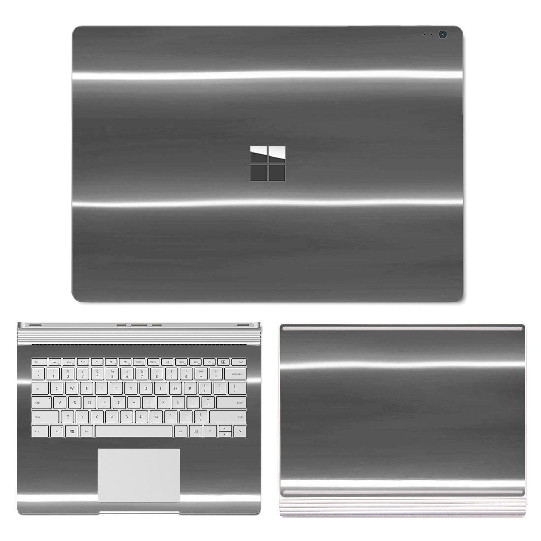 SopiGuard Microsoft Surface Book 2 (15'') Carbon Fiber Precision Edge-to-Edge Coverage Easy-to-Apply Vinyl Skin Sticker Wrap (APA Chrome Black)