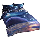 UNIKEA 3d Mysterious Boundless Galaxy Sky Starry Night Bedding Sets Twin/Full Quilt Cover Set