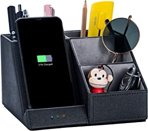 Wireless Charger Desk Organizer,Wireless Charger,Multi-Function Pen Holder.Qi-Certified 10W Max Fast Wireless Charging Pad,Multi-Function Desktop Storage Box.(No AC Adapter)