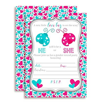 Amazon valentines day love bug gender reveal baby shower valentines day love bug gender reveal baby shower invitations ten 5quotx7quot fill filmwisefo