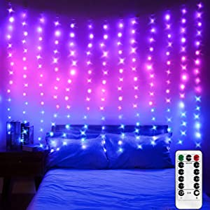 LED Window Curtain Lights, Photo Backdrop Lights Twinkle String Lights with Remote Control for Wedding Party Bedroom Wall Christmas Decorations (Purple Pink Blue, 6.8 x 5 ft)