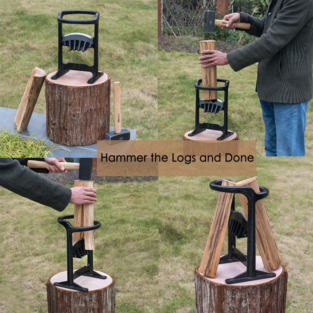 Wood Kindling Splitter Hand Grinding Blade (45# Steel, 14lb) Safe & Easy Way to Split Logs / Chop Firewood for Wood Stove, Fireplace