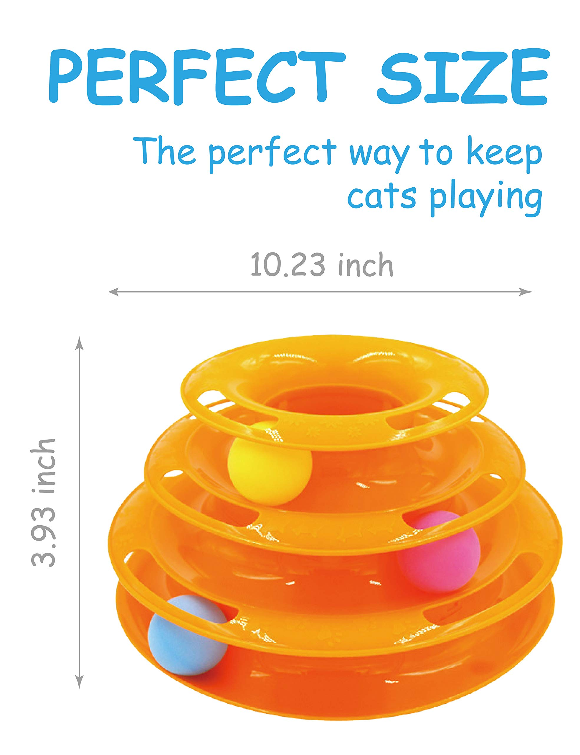 Petove Cat Toys Tower of Tracks 3 Level Cat Tracks Interactive Ball Toy and Feather Fluffy Mouse Toy Set for Cat, Kitten (Orange) by Petove (Image #4)