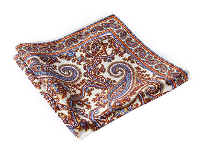 11ed8738cdd4c HISDERN Men's Paisley Pocket Square Handkerchief Khaki/Blue: Amazon ...