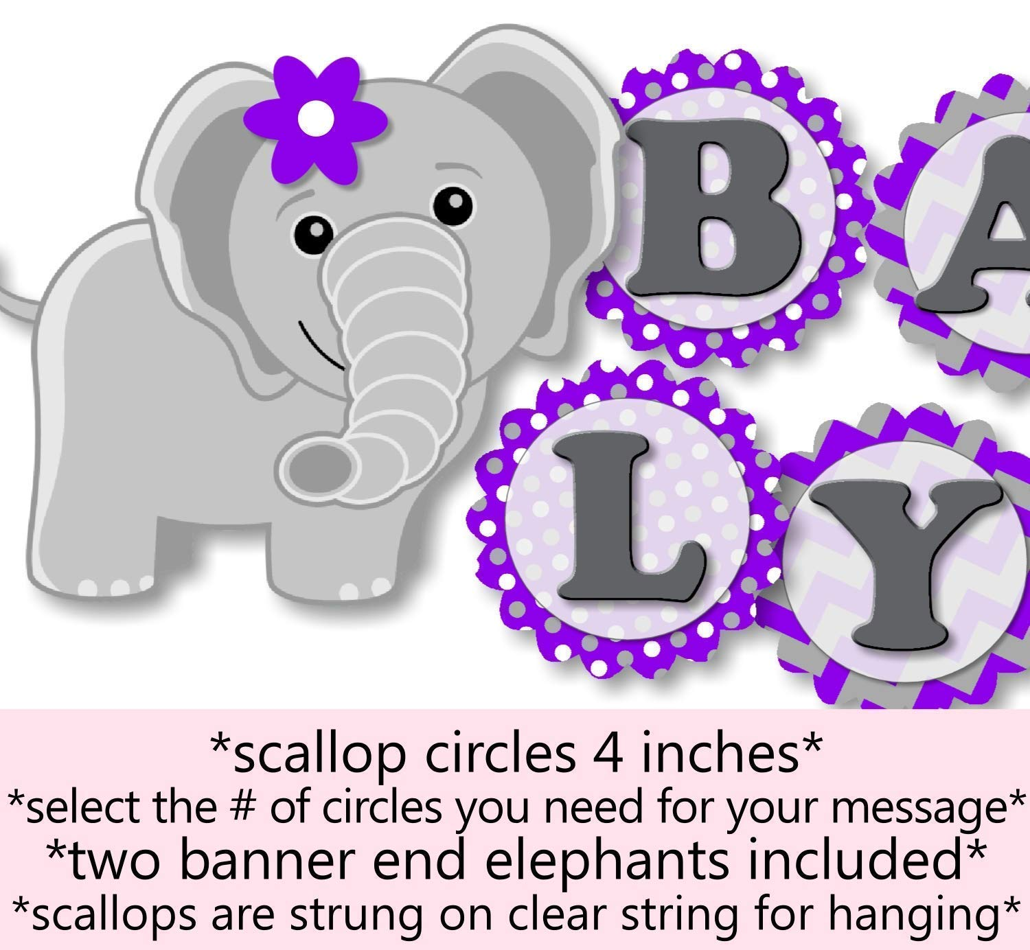 Elephant Baby Shower Decorations Purple  from images-na.ssl-images-amazon.com