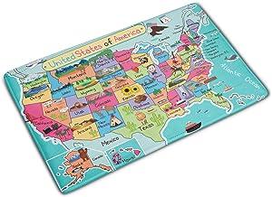 Kids Map of The United States Decor Cartoon Fun Facts Geography USA Map Bath Rugs Non-Slip Doormat Floor Entryways Indoor Front Door Mat Kids Bath Mat 15.7x23.6in Bathroom Accessories