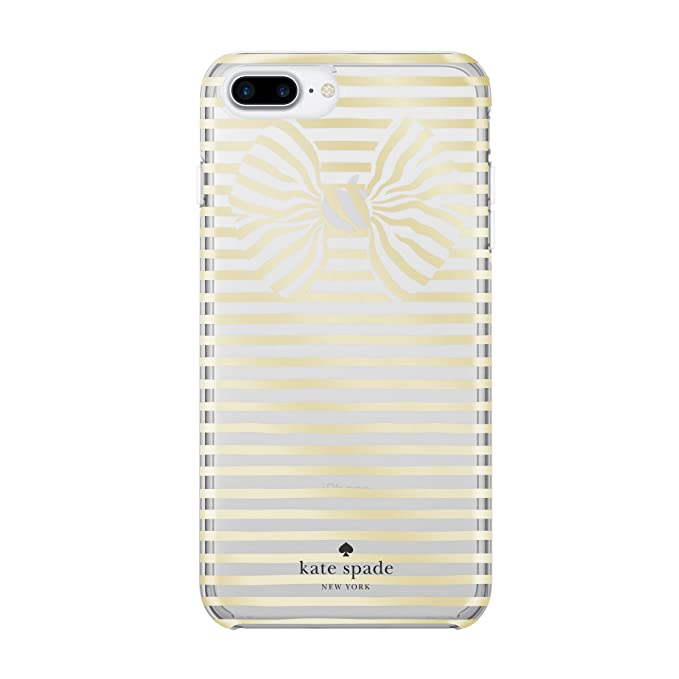 new styles b5582 7444d kate spade new york Protective Hardshell iPhone 7 Plus Case, Also  Compatible with iPhone 6 Plus, 6s Plus - Painterly Bow Gold/Clear