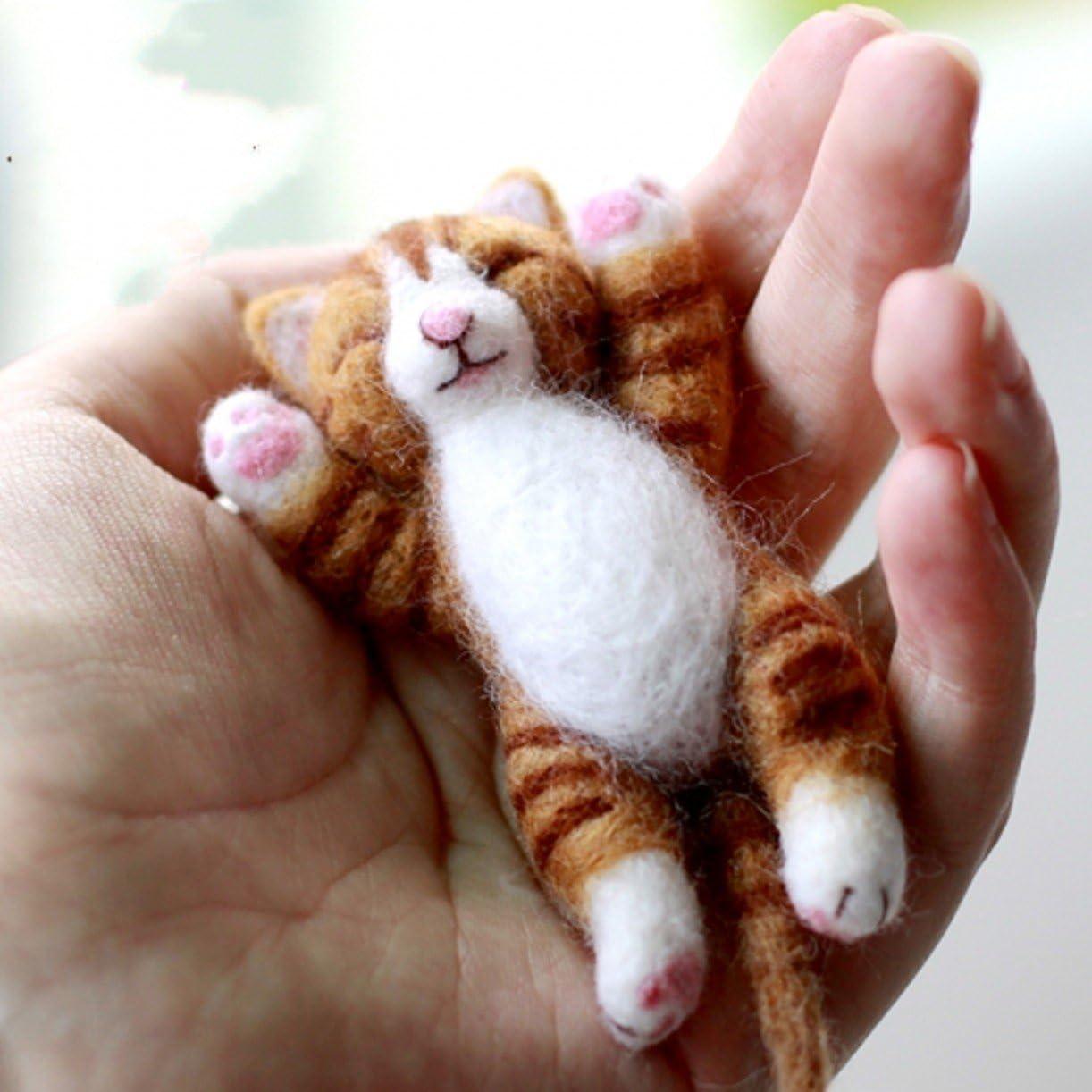 WellieSTR 4 Stlye Animal Natural Wool Roving Needlecrafts Needle Felted Felting Character Starter Kit
