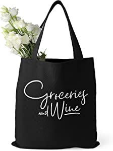 Groceries and Wine Reusable Grocery Bag and Farmers Market Shopping Tote, Large, Washable, Foldable, 100% Cotton Canvas, Unique and Funny Calligraphy Design