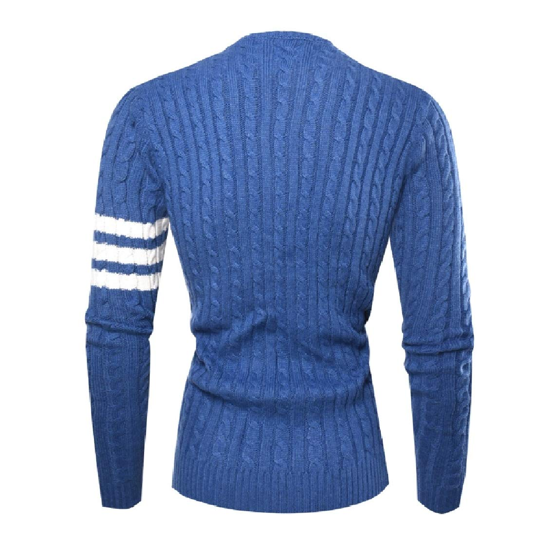 Highisa Mens Contrast Color Pullover Knitwear Patched Autumn Classic Sweaters