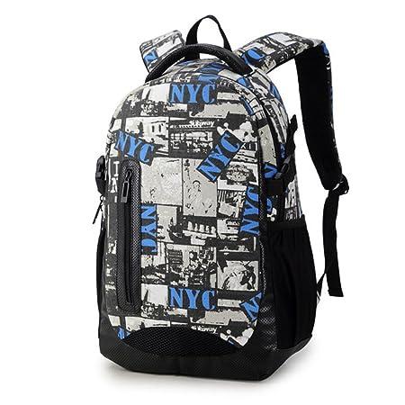 Maod adolescentes Lienzo mochilas escolares Impresión Bolso de Escuela Mujer Impermeable mochila portatil 16 Pulgada (Bleu): Amazon.es: Equipaje
