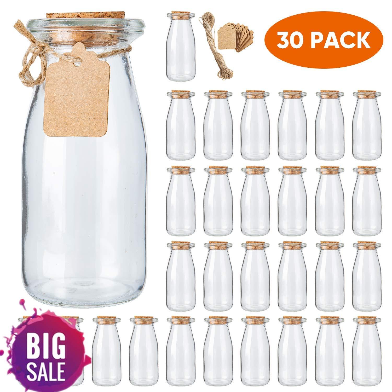 Brajttt 30Pcs Glass Favor Jar with Cork Lids,Pudding Jars with Cork Stopper,Glass Jars with Ice Cream,Glass Yogurt Bottle,Round Milk Glass Jars with Tags and Strings(200 ML,7OZ) by Brajttt