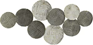 Stratton Home Decor Modern Monochromatic Metal Plates Centerpiece Decor Wall Décor, Extra Large, Grey